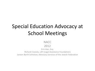 Special Education Advocacy at School Meetings
