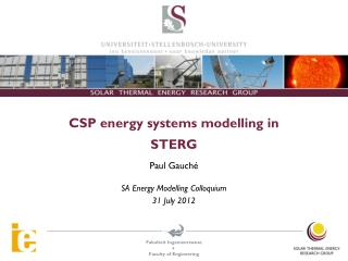 CSP energy systems modelling in STERG