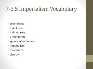 7-3.5 Imperialism Vocabulary