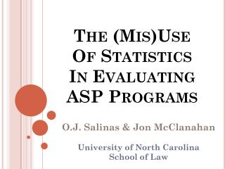 The ( Mis )Use Of Statistics  In Evaluating  ASP Programs