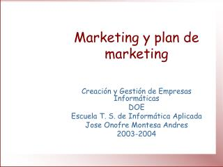 Marketing y plan de marketing
