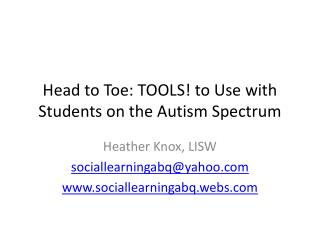 Head to Toe: TOOLS! to Use with Students on the Autism Spectrum