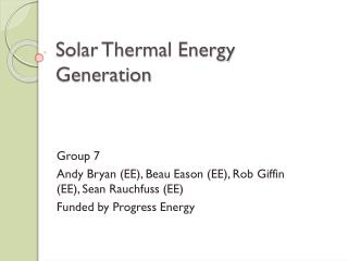 Solar Thermal Energy Generation