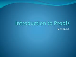 Introduction to Proofs