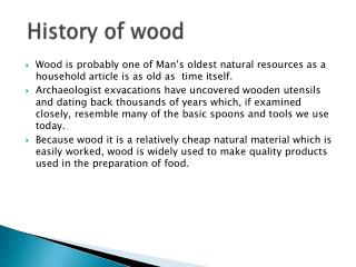 History of wood
