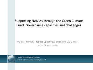 Supporting NAMAs through the Green Climate Fund: Governance capacities and challenges