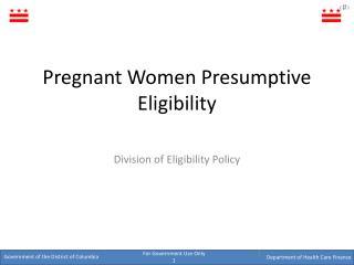 Pregnant Women Presumptive Eligibility
