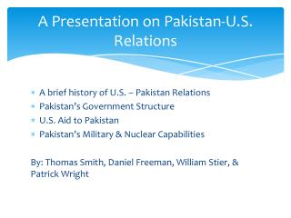 A Presentation on Pakistan-U.S. Relations