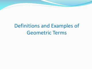 Definitions and Examples of Geometric Terms