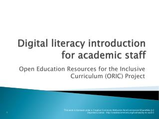 Digital literacy introduction for academic staff