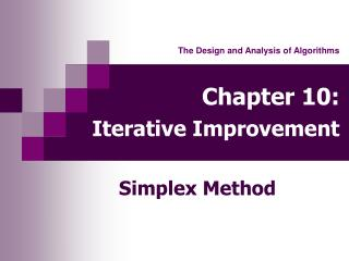 Chapter 10: Iterative Improvement