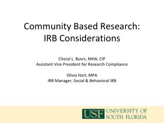 What is Community Based  Research?