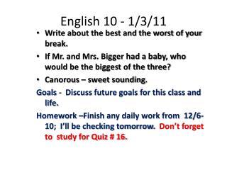 English 10 - 1/3/11