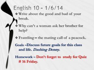 English 10 – 1/6/14