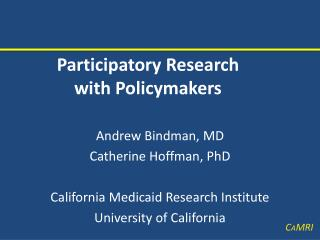 Participatory Research  with Policymakers