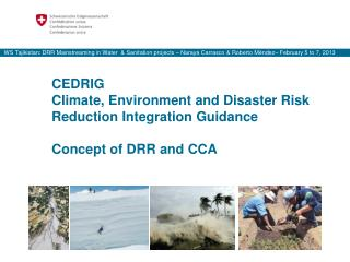 CEDRIG Climate, Environment and Disaster Risk Reduction Integration Guidance