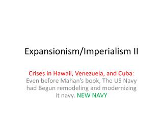 Expansionism/Imperialism II