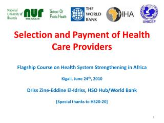 Selection and Payment of Health Care Providers