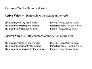 Review of Verbs (Tense and Voice) Active Voice = Subject does the action of the verb.