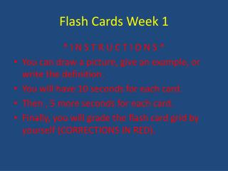 Flash  Cards Week  1
