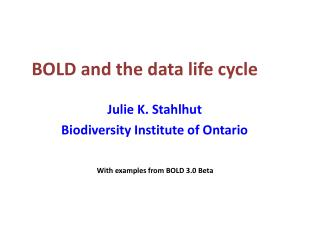 BOLD and the data life cycle