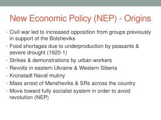 New Economic Policy (NEP) - Origins