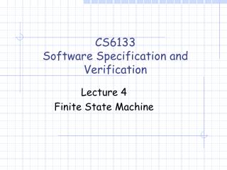 CS6133 Software Specification and Verification