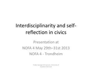 Interdisciplinarity and self-reflection in civics