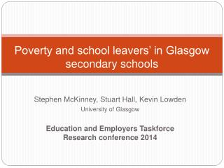 Poverty and school leavers' in Glasgow secondary  s chools