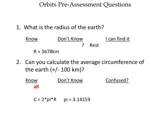 Orbits Pre-Assessment Questions