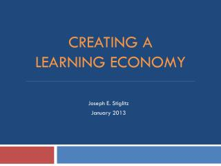 Creating a  learning economy