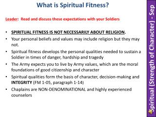 SPIRITUAL FITNESS IS NOT NECESSARILY ABOUT RELIGION .