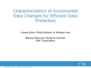 Characterization of Incremental Data Changes for Efficient Data Protection