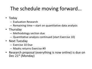 The schedule moving forward…