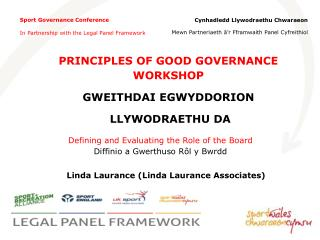 Sport Governance Conference In Partnership with the Legal Panel Framework