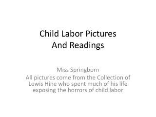 Child Labor Pictures And Readings