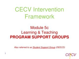 CECV Intervention Framework Module 5c Learning & Teaching PROGRAM SUPPORT GROUPS