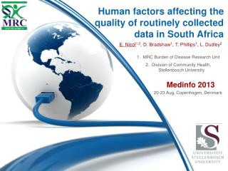 Human factors affecting the quality of routinely collected data in South Africa