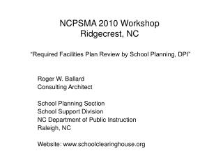 NCPSMA 2010 Workshop Ridgecrest, NC