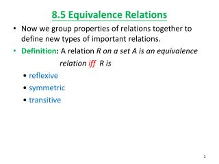 8.5 Equivalence Relations