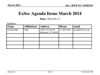 ExSec  Agenda Items March 2014