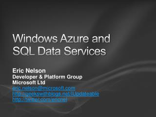 Windows Azure and SQL Data Services