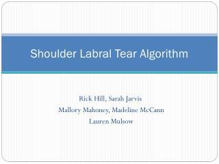 Shoulder Labral Tear Algorithm