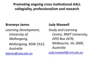 Promoting ongoing cross institutional AALL collegiality, professionalism and research