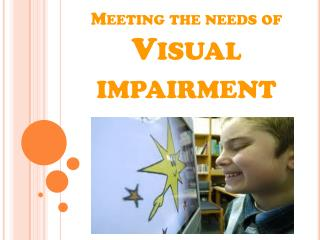 Meeting the needs of  Visual  impairment