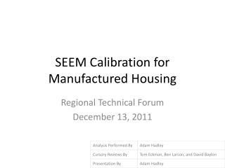 SEEM Calibration for Manufactured Housing