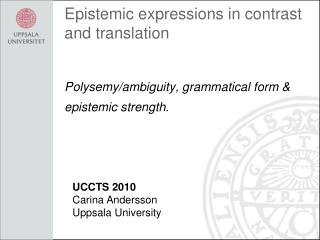 Epistemic  expressions in  contrast  and translation