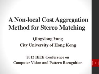 A Non-local Cost Aggregation Method for Stereo Matching