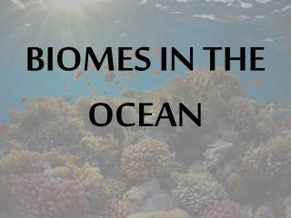 BIOMES IN THE OCEAN