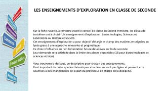 LES ENSEIGNEMENTS D'EXPLORATION EN CLASSE DE SECONDE